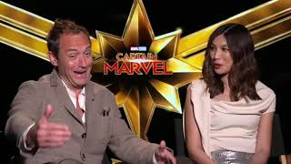 """Captain Marvel"" co-stars Jude Law and Gemma Chan talk about making the blockbuster film"