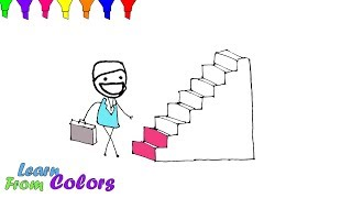 Learning Colors For Kids With Stairs Coloring Pages