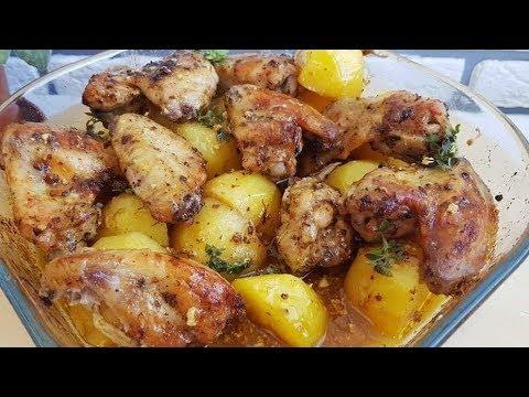 Сочные куриные крылышки с картошкой запечённое в духовке/