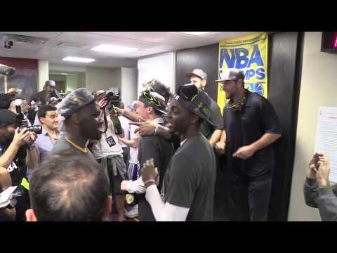 Golden State Warriors locker room celebration - YouTube