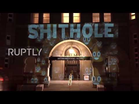 USA: Shithole emblazoned across Trump DC hotel