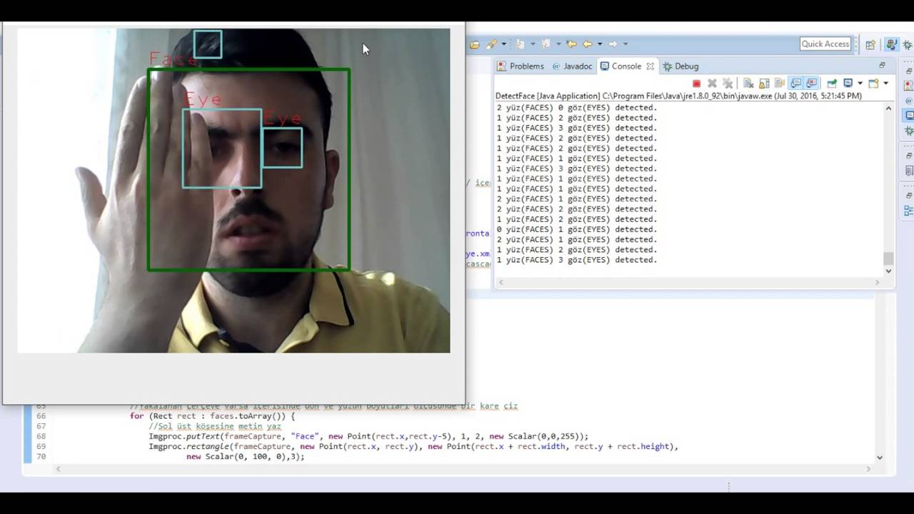 Face and Eye Detection using OpenCV with Java - Real Time Camera