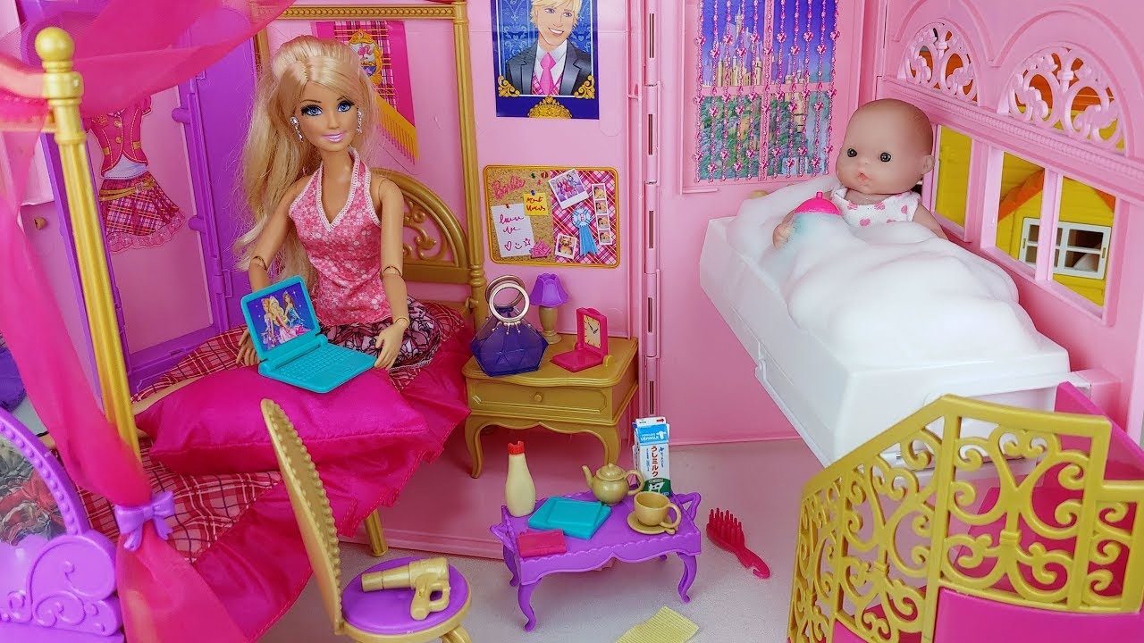 Baby Doll And Barbie Bag House Toys Baby Sitter Kitchen Play - 토이몽 - YouTube