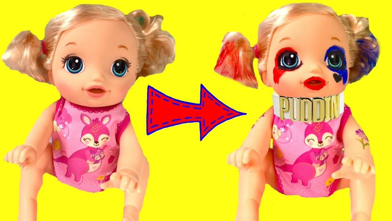 Baby Alive Becomes Harley Quinn - DIY Face Paint Halloween ...