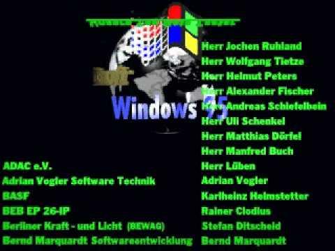 Microsoft Windows 95 BETA Team Credits (Germany / Deutschland)