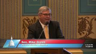 Sen. Green delivers farewell address