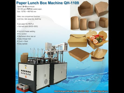 Two compartment paper food container making machine for food tray box QC-1109