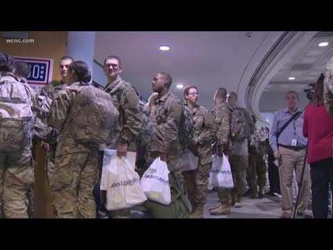 Servicemen and women travel through Charlotte for holidays