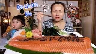 Bữa Ăn Sang Chảnh Cá Hồi Nguyên Tảng Phủ Trứng Cá Tầm Đen Thui Béo Lên Đến Não #537