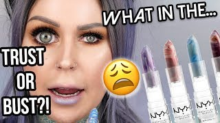WHAT ARE YOU DOING NYX?! | NYX Faux Marble Lipstick Review | Trust or Bust