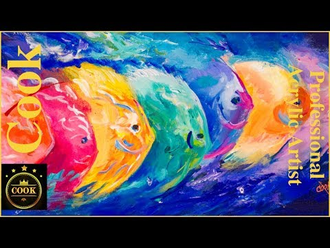 Kaleidoscope School of Fish Acrylic Painting Tutorial for Beginner and Advanced Artists