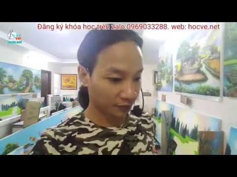 Nhật ký ngày thứ 3, k8, khóa học vẽ tranh tường tại Hà Nội, bài sơn thủy.