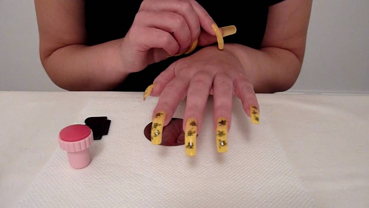 Konad Stamping Nail Art Tutorial To Stamp Design On Long Natural ...