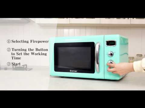 costway retro countertop microwave oven 0 9cu ft 900w microwave oven with 5 micro power defrost