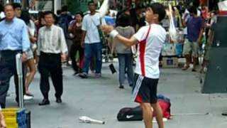 Mary Hopkin and an Orchard Road Juggler (Singapore)