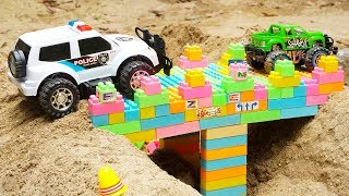Bridge Construction Vehicles, Dump Trucks, Police Car, Excavator Truck Blocks Toys for Children
