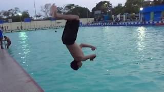 How to do back flip in swimming pool (slow motion)