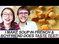 Making soup in French & taste test w/ French boyfriend - English & French subtitles