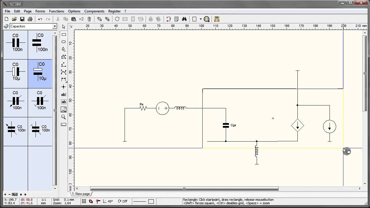 drawing circuit schematics with sPlan 7.0 (vector) - YouTube