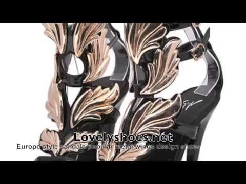 Lovelyshoes.net - Europe Style Sandals Popular Metal Wings Design Shoes