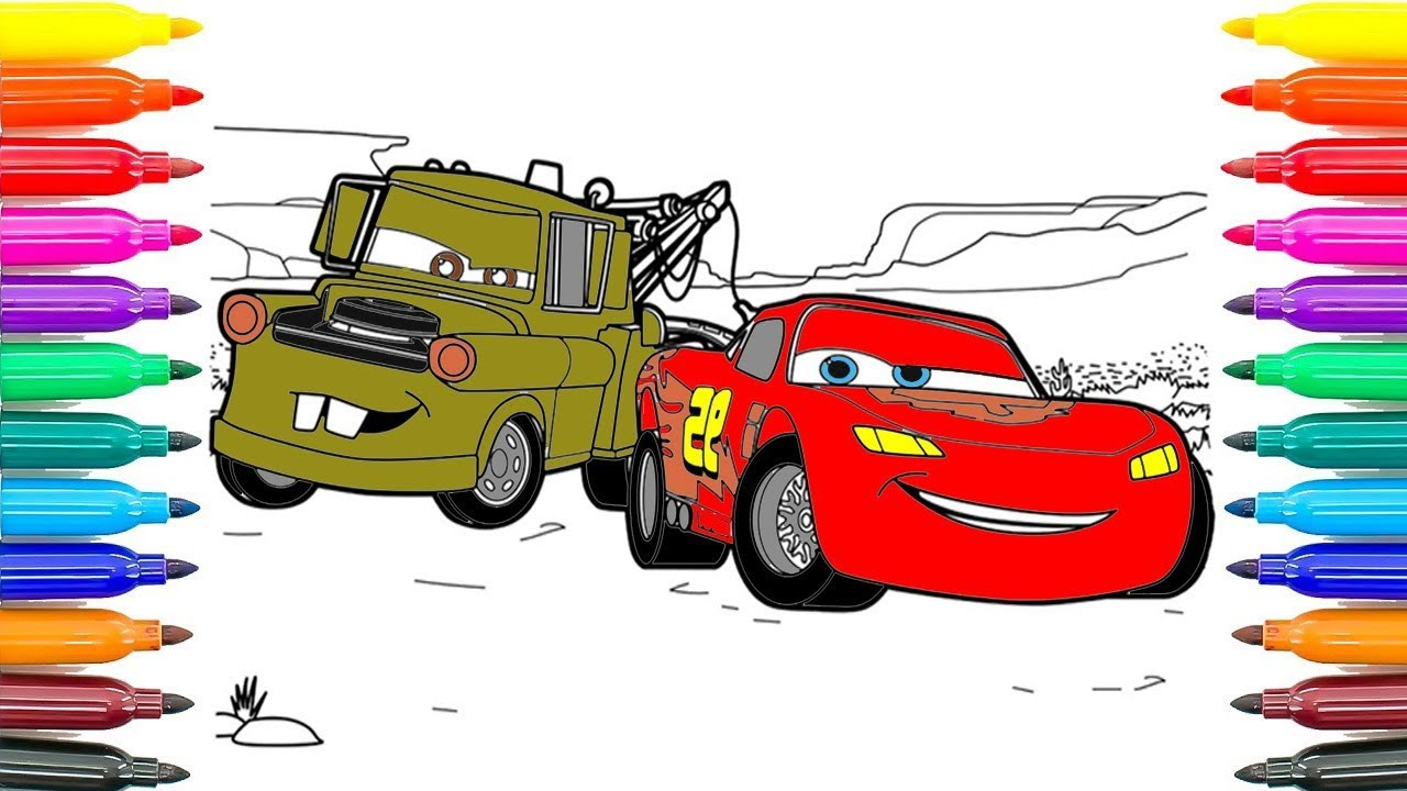 How To Coloring Cars 3 Tow Mater and Lightning McQueen ...