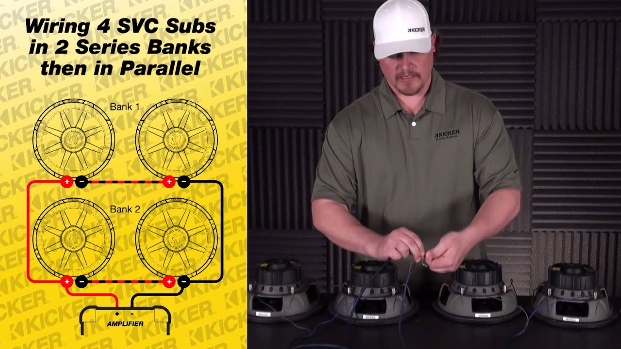Subwoofer Wiring Four 4 Ohm Svc Subs In Series Parallel Youtube Sub Wire Diagram