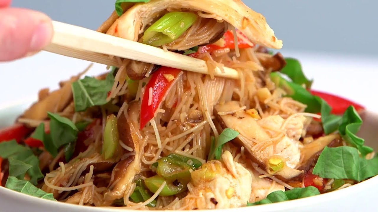 Chicken And Rice Noodle Stir Fry With Ginger And Basil Cooking Light Youtube