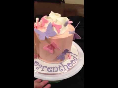Buttercream Baby shower butterfly themed cake - YouTube