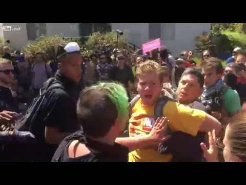 Antifa assaults father/son team and severely beats alleged nazi in Berkeley, California