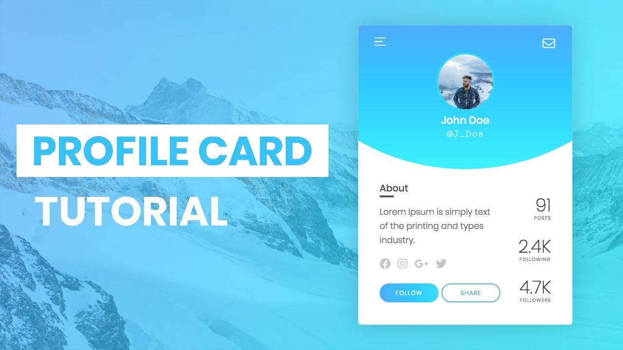 Animated Profile Card Using HTML & CSS & JavaScript