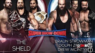 FULL MATCH - The Shield vs Braun Strowman, Dolph Ziggler & Drew Mcintyre - WWE Super Show-Down 2018