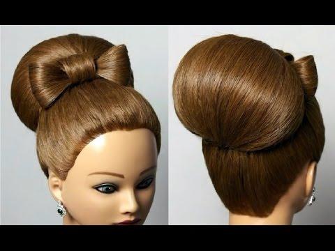 Прическа для средних волос. Бант и  бабетта.