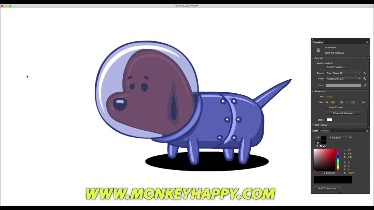 How To Draw A Little Spacedog  Adobe Animate Cc
