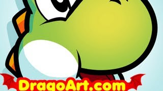 How to Draw Yoshi Easy, Super Mario, Step by Step