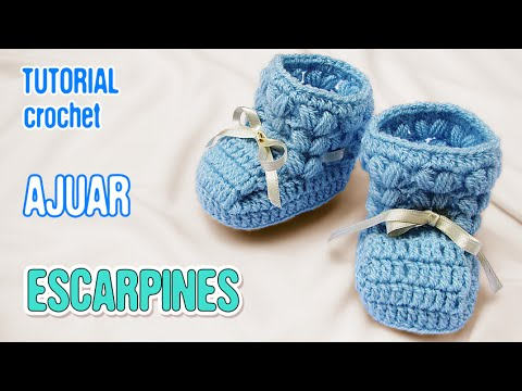 Crochet Tutorial Zapatitos : DIY Zapatitos Escarpines Punto Puff Crochet AJUAR varon - YouTube