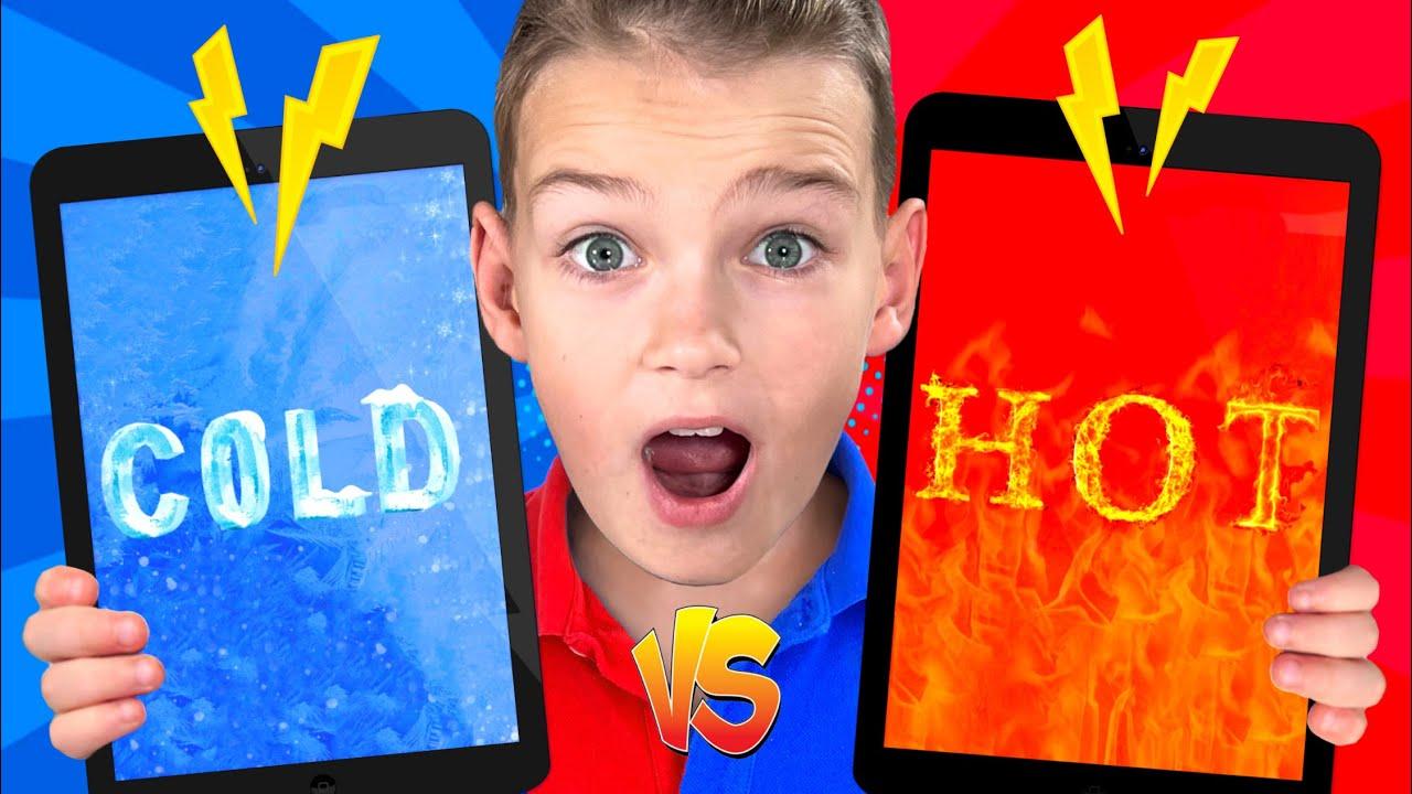 تحدي حار مقابل بارد مع خمسة أطفال | مجموعة فيديو للأطفال