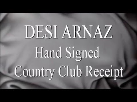 DESI ARNAZ Hand Signed Country Club Receipt - RR Auction LOA - UACC #RD289