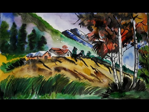 Watercolor Painting : mountain landscape easy | Simple Landscape Painting | Easy Mountain Painting