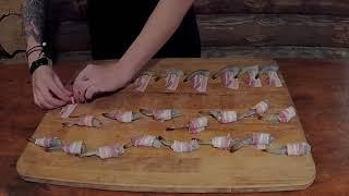 Женский гриль: креветки в беконе