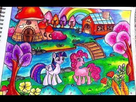 Cara Menggambar Dan Mewarnai My Little Pony Dengan Gradasi Warna Oil Pastel Crayon Youtube
