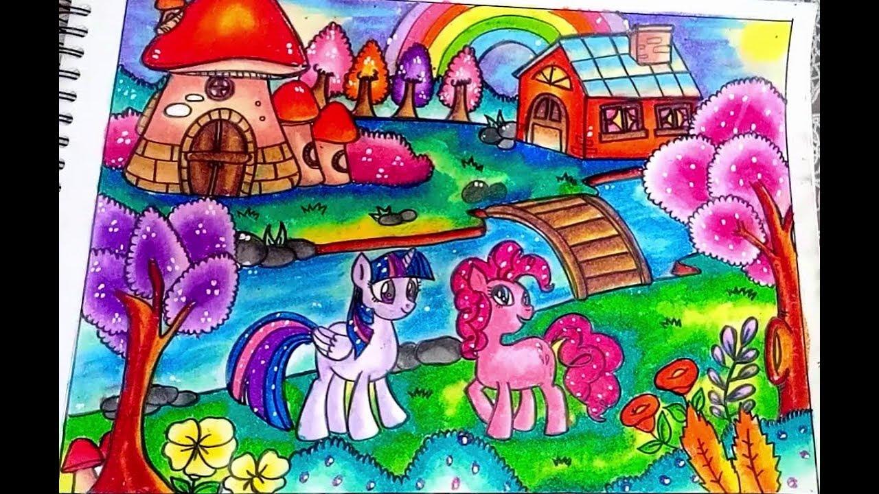Cara Menggambar Dan Mewarnai My Little Pony Dengan Gradasi Warna Oil