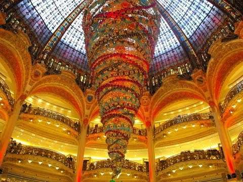 A Walk Around Galeries Lafayette At Christmas Time, Paris