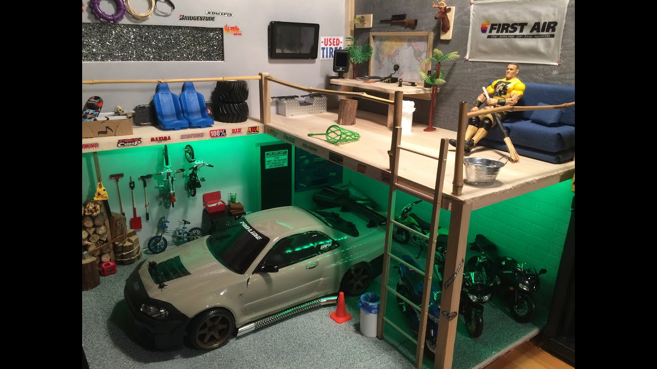 Rc scale garage loft youtube for One car garage with loft
