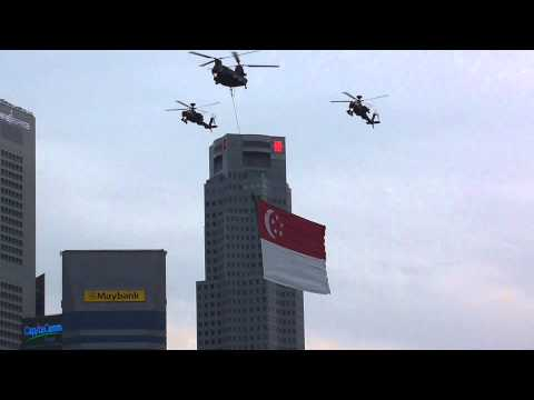 Singapore's National flag fly past at the NDP preview, 030813