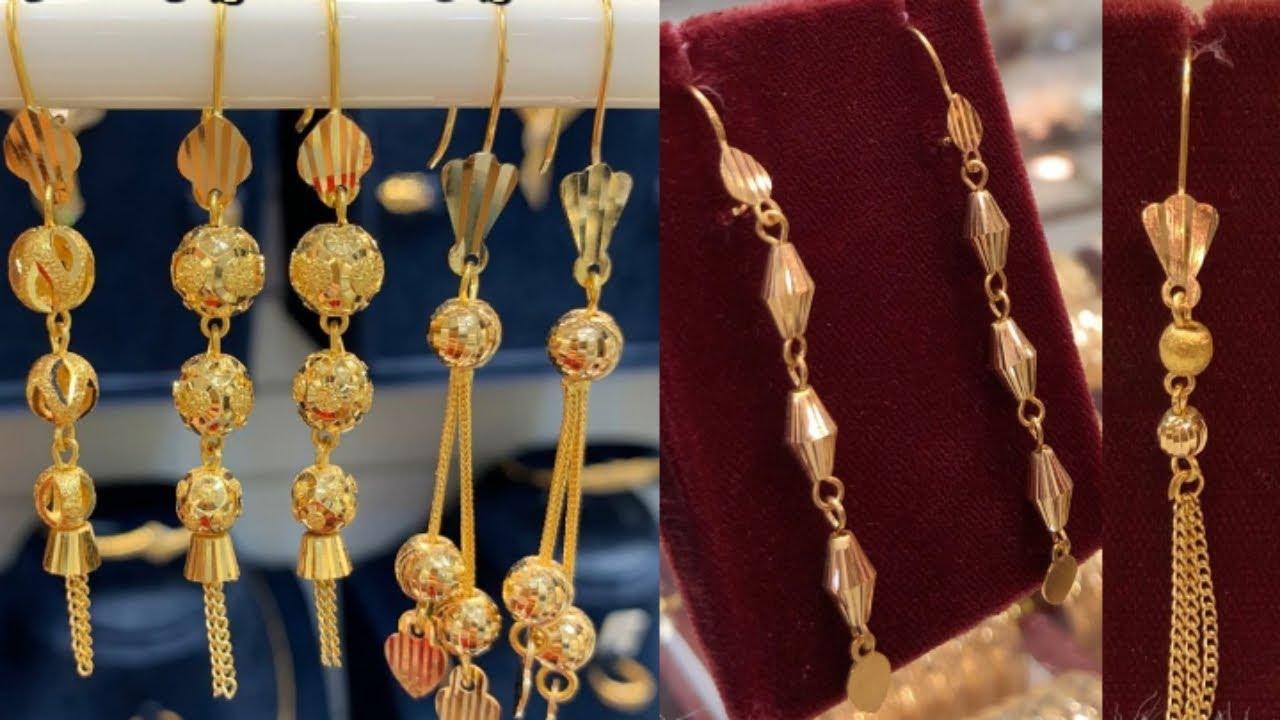 Latest light weight gold suidhaga earring design with weight //new gold hanging earring design