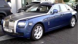 Blue silver Rolls Royce Ghost parking at Dubai Mall Valet Parking, Dubai, UAE