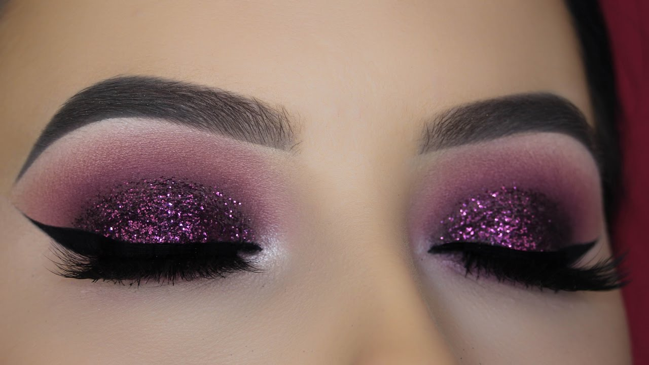 Purple Mauve Glitter Eye Makeup Tutorial - YouTube