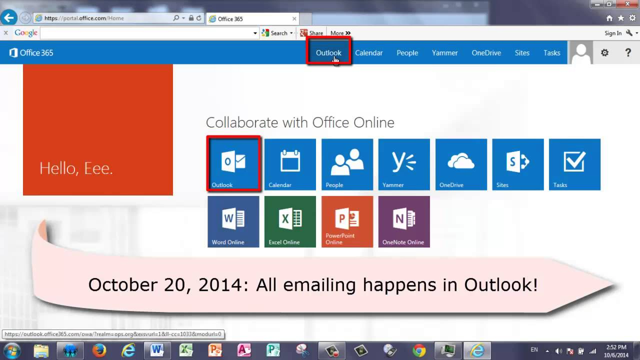 Office 365 Logging In And Checking Outlook Email Youtube Microsoft 365 email login portal