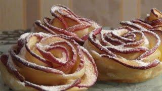 Яблочные розочки в слоеном тесте-очень вкусно