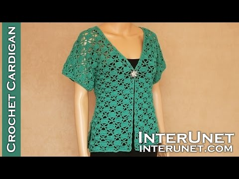 Crochet short-sleeve lace summer top – Green Zinnia cardigan sweater crochet pattern